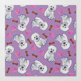 Bichon Frise Love Pattern on Lavender Canvas Print