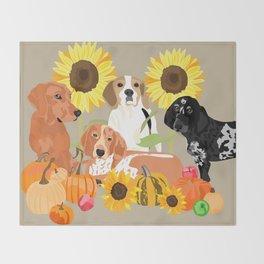 Coonhound Autumn Throw Blanket