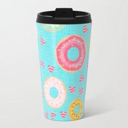 hearts and donuts blue Travel Mug