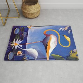 Flamingo and Egret with Lilies and Calla Lilies by Joseph Stella Rug