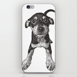 Cute playful puppy wagging it's tail. iPhone Skin