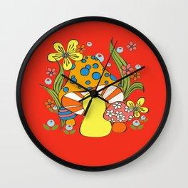 Retro Mushroom Wall Clock