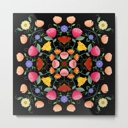 Folk Art Inspired Garden Of Fantastic Floral Delight Metal Print
