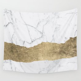 Elegant faux gold foil gray white modern marble Wall Tapestry