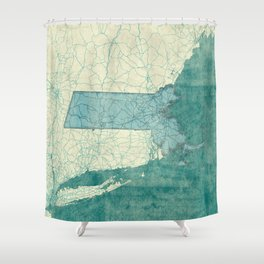 Massachusetts State Map Blue Vintage Shower Curtain