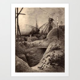 Vintage Haunting War of the Worlds Illustration Art Print