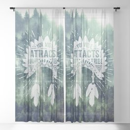 Your Vibe Attracts Your Tribe - Green Forest Fog Sheer Curtain