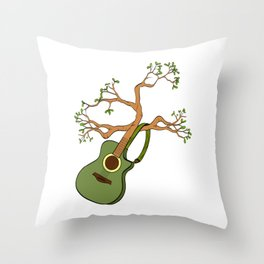 """When """"No Music No Life"""" Tee """" With An Acoustic Guitar Of Nature Trees Branch T-shirt Design Leaves Throw Pillow"""
