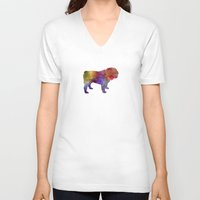english bulldog V-neck T-shirts featuring English Bulldog in watercolor by Paulrommer