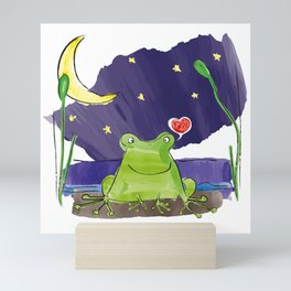 The frog and the moon Mini Art Print