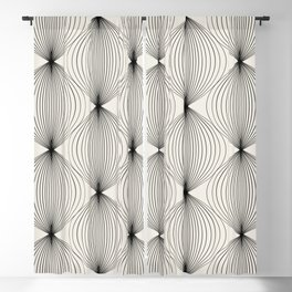 Geometric Orb Pattern - Black Blackout Curtain