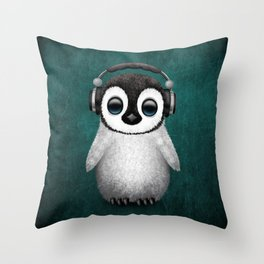 Cute Baby Penguin Dj Wearing Headphones on Blue Throw Pillow