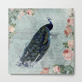 Vintage Victorian Peacock Bird and Roses Illustration Metal Print