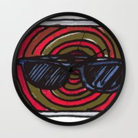 sunglasses Wall Clocks featuring sunglasses by NAME THEGREY