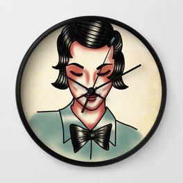 Vintage woman in bow tie Wall Clock
