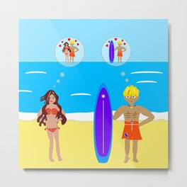 Surfer and Girl Romance on the Beach Metal Print
