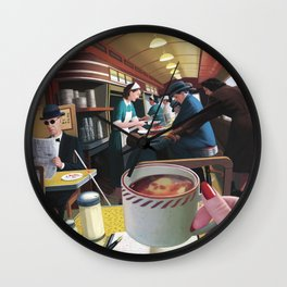 Blue Plate Special by Jeff Lee Johnson Wall Clock
