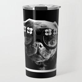 PUG SUKI - FLORAL SPECS - BLACK AND WHITE Travel Mug