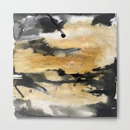 Black and Gold Brush Stroke Abstract Metal Print