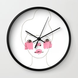 Line Drawing of a Girl in Neon  Wall Clock
