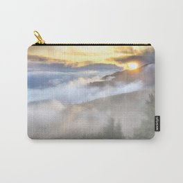 Sunrise and Dust - Mountains - Forest - Wood - Trees - Fog Carry-All Pouch