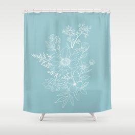 Light Blue Botanical Line Drawing Shower Curtain