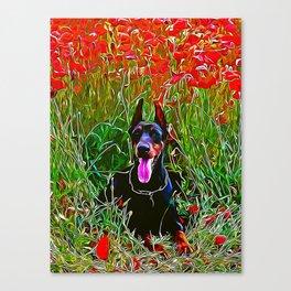 doberman dog red flowers meadow vector art Canvas Print