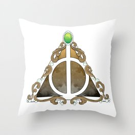 Deathly Hallows w/green Throw Pillow