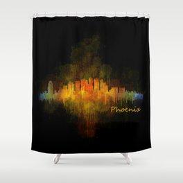 Phoenix Arizona, City Skyline Cityscape Hq v4 Dark Shower Curtain
