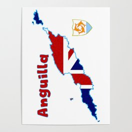 Anguilla Map with Flag and Crest Poster