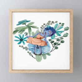 Blue Zombie Girl Curtsey Framed Mini Art Print