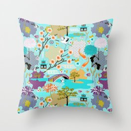 Japanese Garden Throw Pillow
