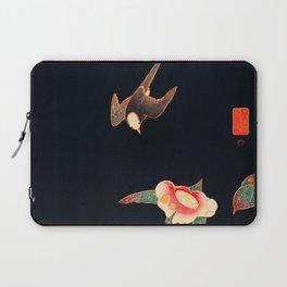 Swallow and Camellia Flower Vintage Bird Japanese Woodblock Print Laptop Sleeve