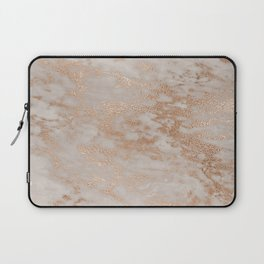 Rose Gold Copper Glitter Metal Foil Style Marble Laptop Sleeve