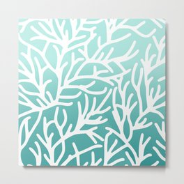 Sea Coral Aqua Modern Metal Print