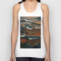"""geology Tank Tops featuring """"stratify"""" abstract watercolor and gouache painting by Carol Farnum Art"""
