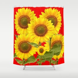 YELLOW-GREEN SUNFLOWERS RED COLOR Shower Curtain