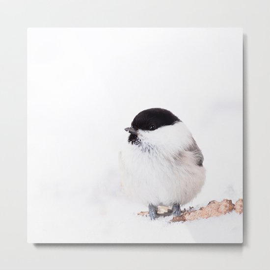 Cute Willow Tit sitting in the snow #decor #buyart #society6 Metal Print