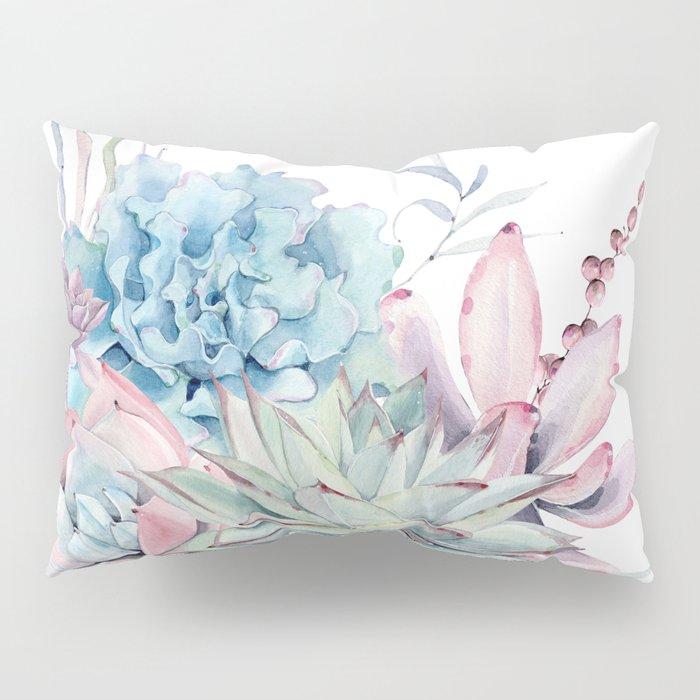 Pretty Pastel Succulents Pillow Sham