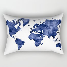 Dark navy blue watercolor world map Rectangular Pillow