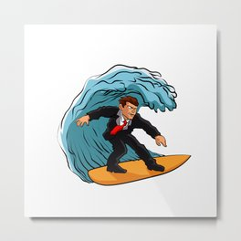 Businessman surfing on wave Metal Print