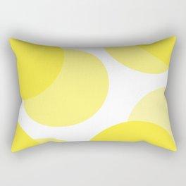 Yellow Circles on White Abstract Rectangular Pillow
