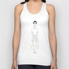girl in white Unisex Tank Top