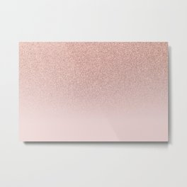 Trendy Rose Gold Faux Glitter Blush Pink Ombre Color Block Metal Print