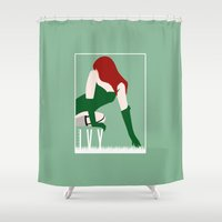 poison ivy Shower Curtains featuring Poison Ivy by Rizwanb