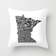 Typographic Minnesota Throw Pillow