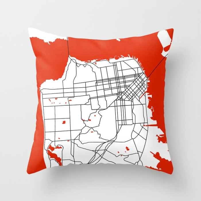 District San Francisco Map Throw Pillow