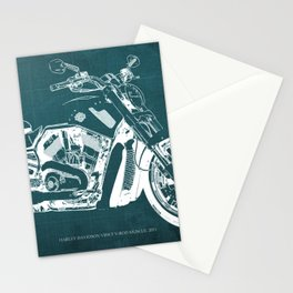 2011 HD VRSCF V-Rod Muscle green blueprint Stationery Cards