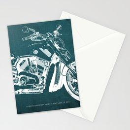 2011 HD VRSCF V-Rod Muscle green blueprint Stationery Cards