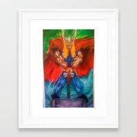 superhero Framed Art Prints featuring superhero by BigboyNoyd